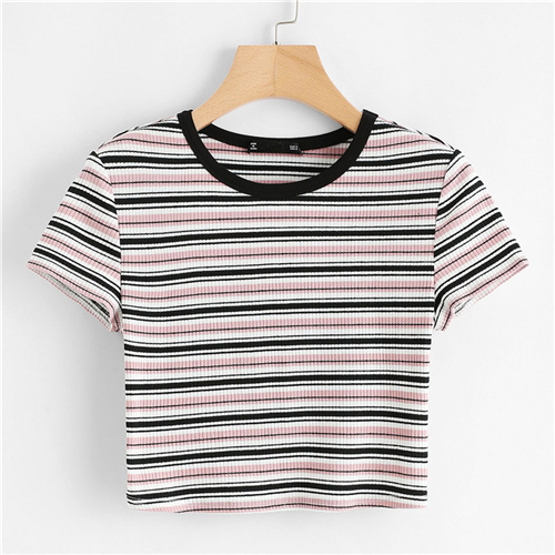 Contrast Tape Striped Print...