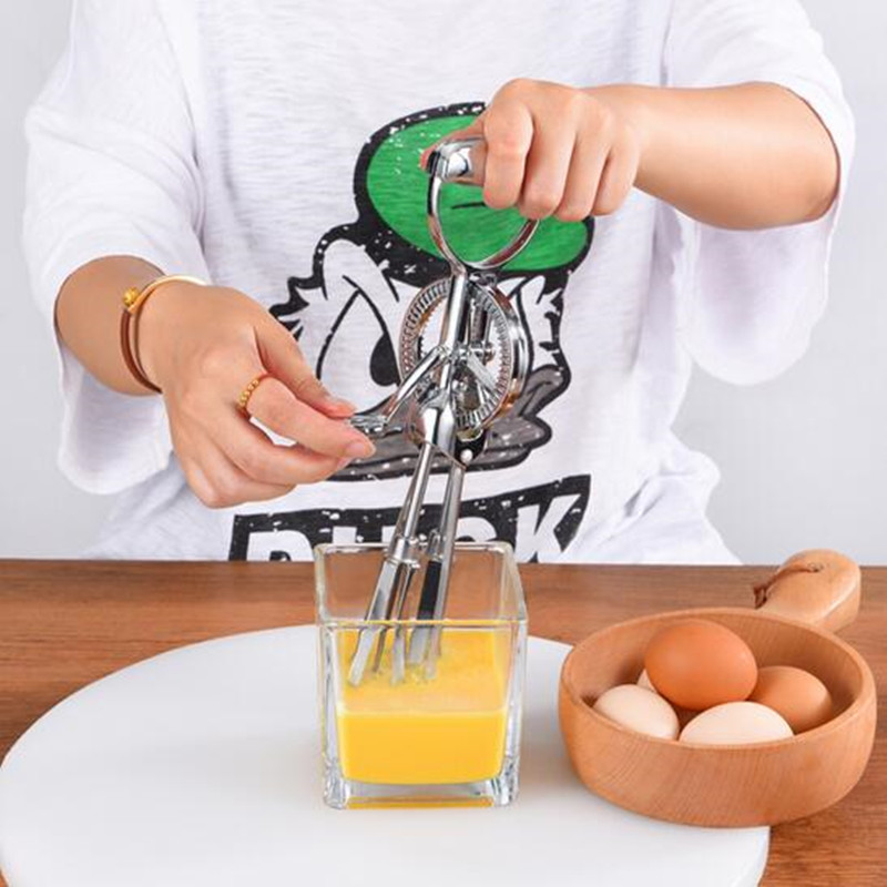 Manual Egg Beater Handheld Food Mixer Stainless Steel Handle Milk Cream Butter Whisk Mixer Stiring Tool fast food leisure fast food equipment stainless steel gas fryer 3l spanish churro maker machine