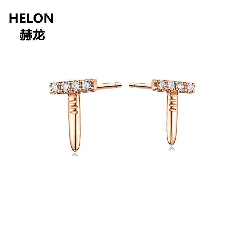 Solid 14k Rose Gold Women Stud Earrings 1.5mm Round AAA Cubic Zirconia CZ Earrings Anniversary Engagement Wedding Party Jewelry 2mm width 14kk solid white gold hoop earrings for women earrings aaa graded cubic zirconia cz party engagement wedding jewelry