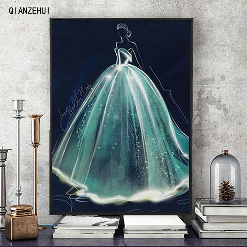 QIANZEHUI Needlework,DIY Printed Princess Wedding Dress Cross Stitch,Sets For Embroidery Kit Full Embroidery Cross-Stitching