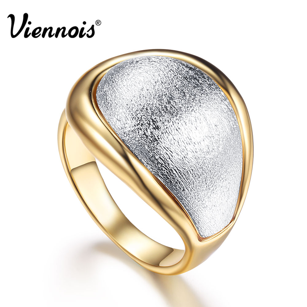 Viennois New Gold Color Rings for Women Silver Color Size Rings Female Cocktail Party Rings Fashion Jewelry