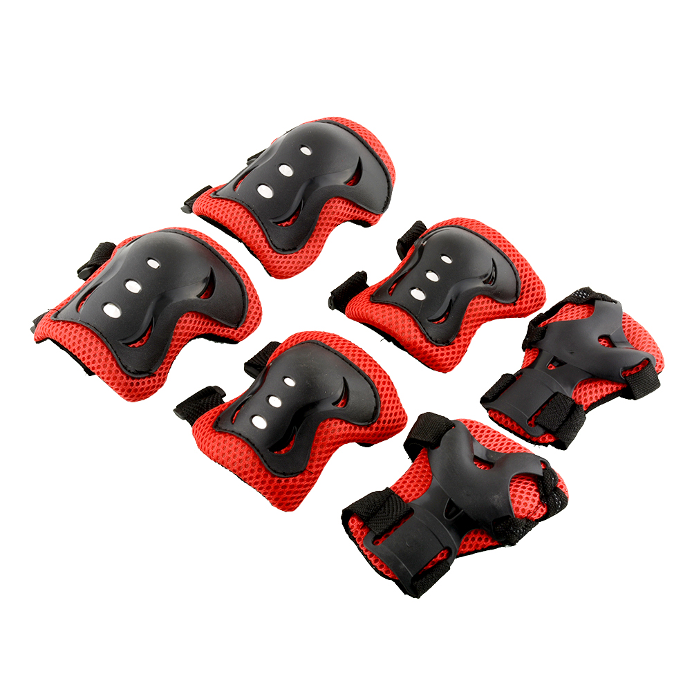 Kid Roller Skating Skateboard Bicycle Cycling Knee Elbow Wrist Protective Adjustable Guard Pad Gear comfort Red&Black