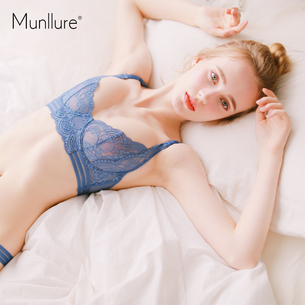 Munllure-Sexy Gathers Comfortable Ultra-thin  Flowers Fresh Fresh Lace Breathable Underwear Women Bra Set