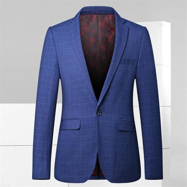 Mens Blazer Slim Fit Chaqueta de Traje Azul Marino A Cuadros 2016 Primavera otoño de la Alta Calidad Outwear Trajes De Hombres de Moda Blazer A2331