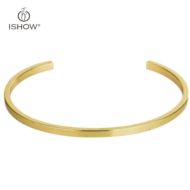 Gold color New Open Bangles Mens Womens Bracelet cuff Golden Jewelry