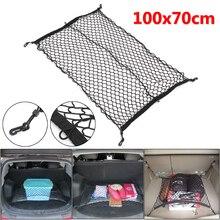 100 centímetros x 70cm Preto Nylon Net Mala Do Carro Saco Organizador De Armazenamento De Bagagem Traseiro Cauda Malha Rede Com 4 ganchos