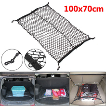 100Cm X 70Cm Zwart Nylon Kofferbak Netto Bagage Organizer Bag Achterlichten Mesh Netwerk Met 4 haken
