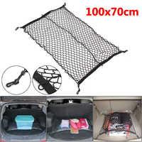 100cm x 70cm noir Nylon voiture coffre Net bagages rangement organisateur sac arrière queue maille réseau avec 4 crochets