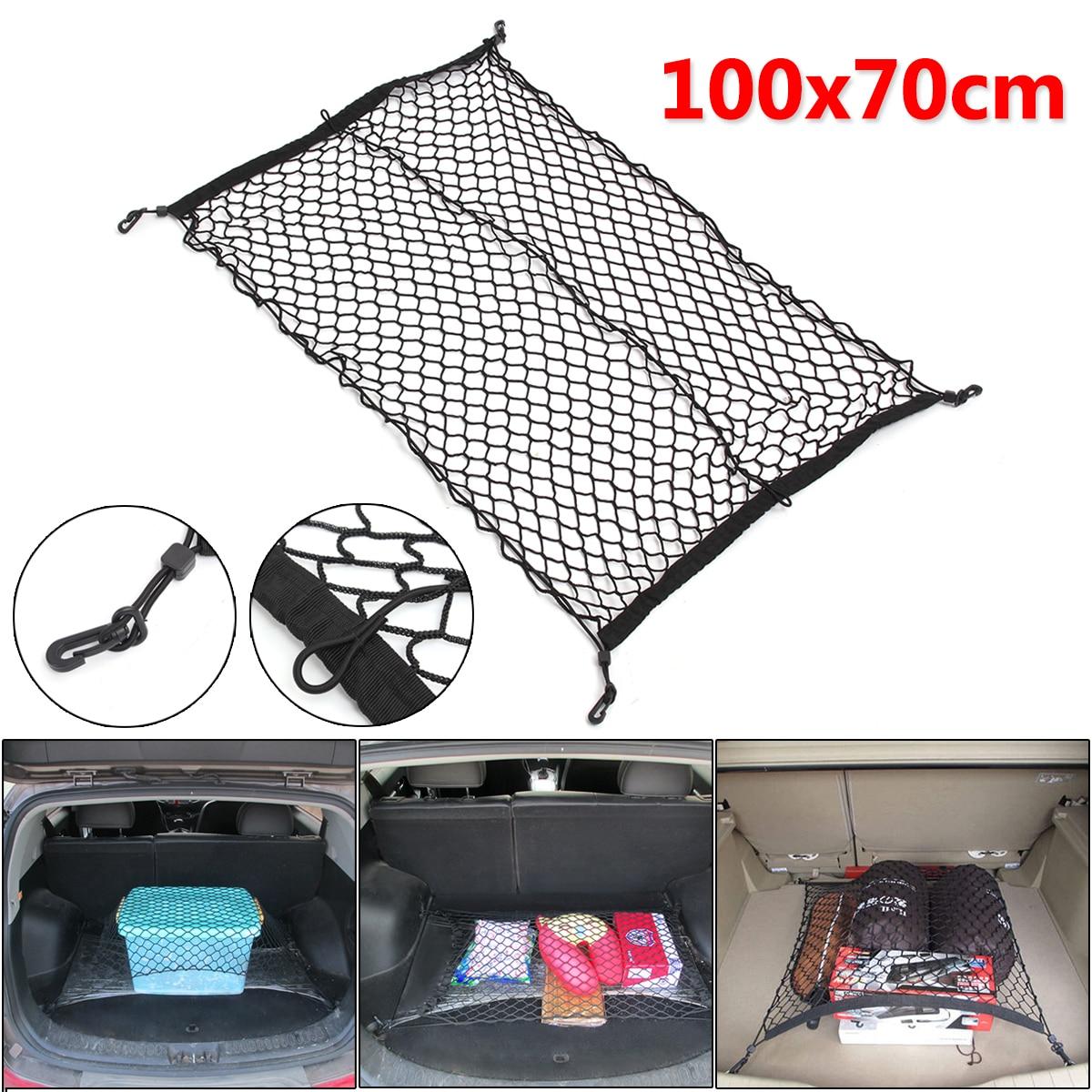 100cm x 70cm preto náilon tronco do carro organizador de armazenamento de bagagem net saco traseiro cauda malha rede com 4 ganchos