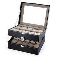 High Quality 20 Grid Slots Watch Box Jewelry organizer Watches Boxes Display Storage Box Case Leather Square jewelry caja reloj