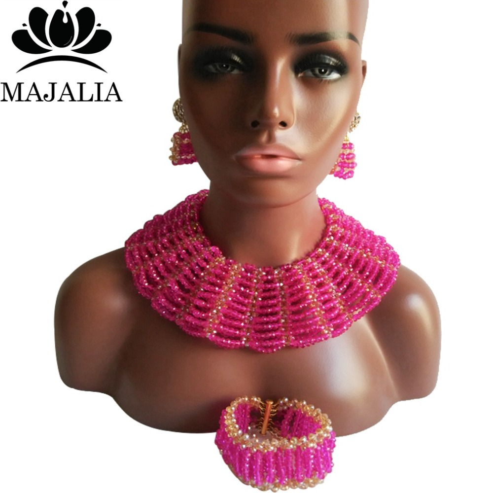 Majalia Classic Nigerian Wedding African Jewelry Set Hot pink and Gold ab Crystal Necklace Bride Jewelry Sets 10SX021Majalia Classic Nigerian Wedding African Jewelry Set Hot pink and Gold ab Crystal Necklace Bride Jewelry Sets 10SX021