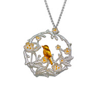 Fashionable Three-dimensional Bird Cherry Two-color 925 Sterling Silver Necklace
