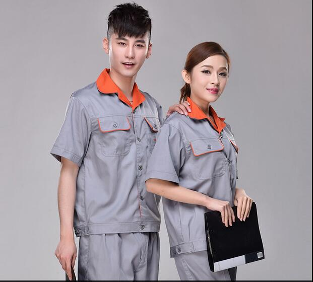 S-4XL!!! 2018 Protective clothing short-sleeve set wear-resistant male female short-sleeve work wear High quality mens wear