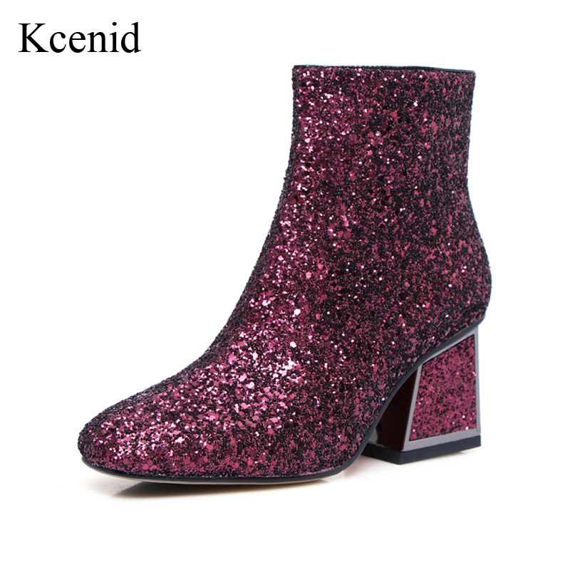 Kcenid New glittering high heels ankle boots for women fashion square toe back zip winter boots bling shoes woman plus size 41 цена и фото