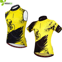 WOSAWE MTB Bike Mens Cycling Vests Reflective Bicycle Cycle Wear Sports Shirts Downhill Clothing Breathable Sleeveless Jerseys