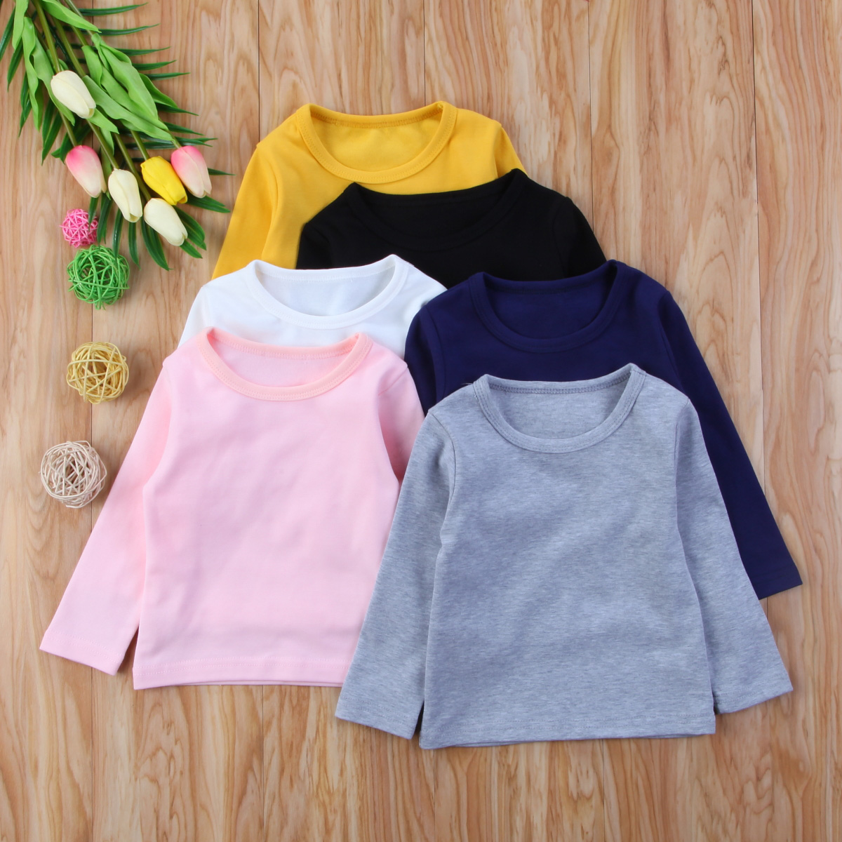 Autumn Cotton Newborn Infant Kids Baby Boys Girls Clothes Solid Cotton Soft Clothing Long Sleeves T-shirt Tops 2