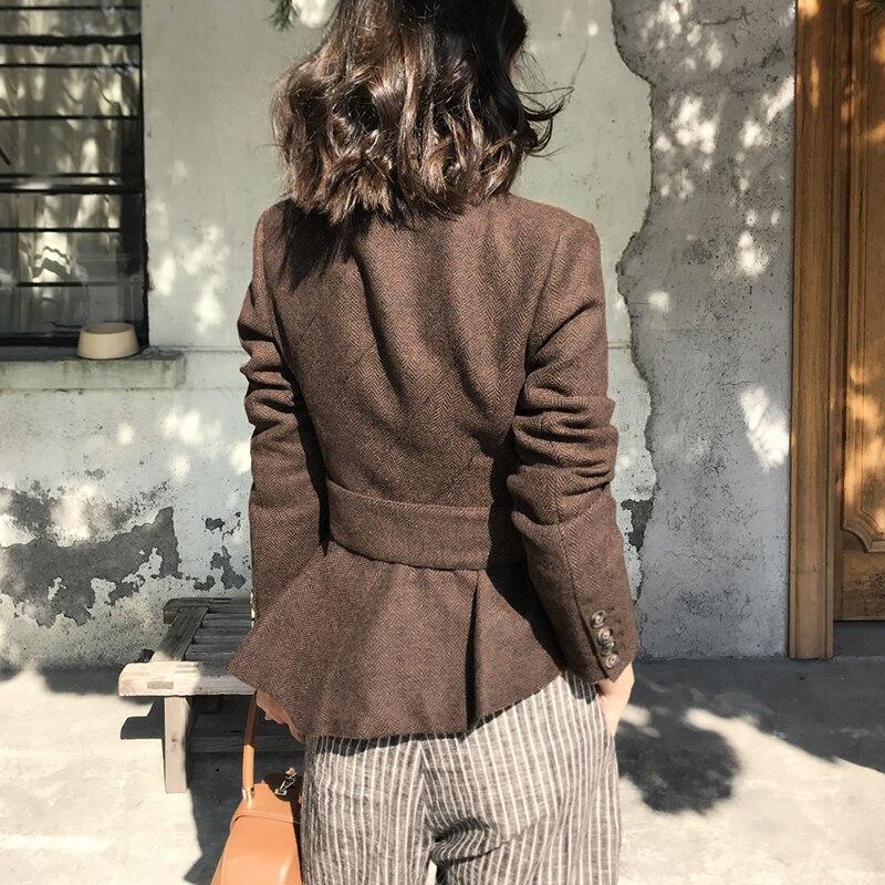 Bureau Manteaux Ceinture De Automne Élégant Femmes Blazer Kohuijoo Veste Laine Manteau Marron Dames Slim Hiver Court Mode Cachemire Femme FfxWHZ
