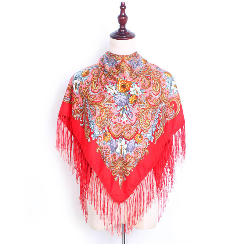 Hot Square Scarf Spring  Autumn Cotton  Linen Printing Square Scarf Russian Head Scarf Female Tassel Scarf Shawl Bag Scarf