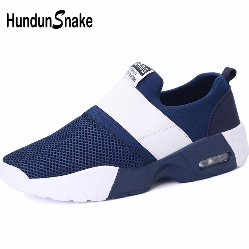 Hundunsnake Slip-On Men Running Shoes Sports Women Sneakers Man Sport Shoe Summer Krasovki Men 2019 Blue Footwear Training B-034