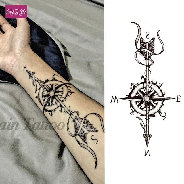 1pcs Compass Arrows Black Flower Henna Temporary Tattoo Black Mehndi