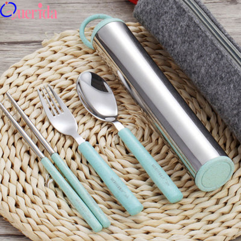Portable Wheat Straw Handle 304 Stainless Steel Dinnerware Set Western Cute High Quality Children Student Box Bag Tableware Gift