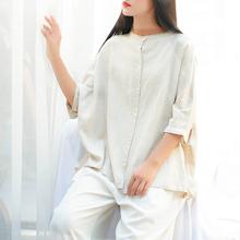 ORIGOODS Plus size pościel bluzka kobiet chiński styl Vintage Koszula lniana bluzka Oversized na co dzień stałe biała bluzka topy B224 tanie tanio Kobiety REGULAR Suknem Połowa Przycisk Stójka