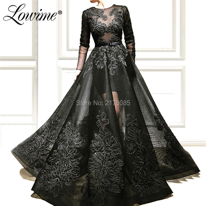 Black Appliqued Illusion   Evening     Dress   Robe De Soiree Custom Aibye Dubai Arabic Party Gowns 2019 Abendkleider Long Prom   Dresses