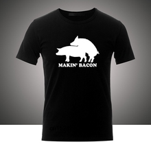 b525abf8 Making Bacon Lettering Art Pattern Funny Pig Make Love Sex Cotton Men's  Round Neck White T