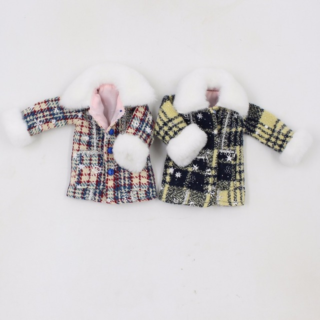 Neo Blythe Doll Gingham Winter Dress With Coat