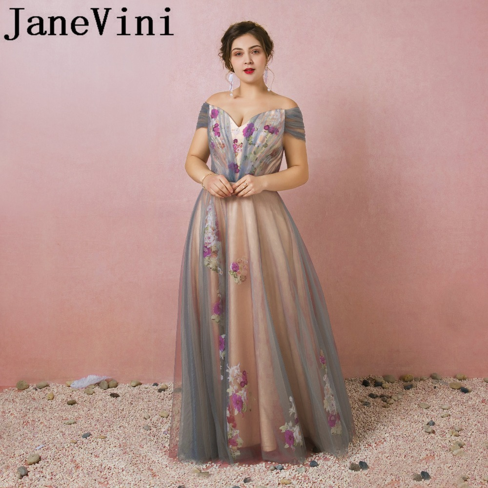 JaneVini Tulle Beautiful Long Bridesmaid Dresses A-Line Off The Shoulder Floral Print Backless Plus Size Maid Of Honor Dresses