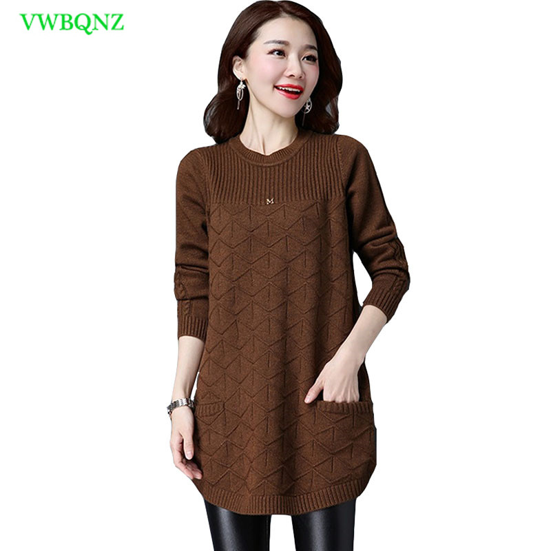 Plus Size Women's Clothing Long Sweater Female Hedging Round Neck Bottoming Sweater Korean Women Long Sleeve Knit Sweaters A83