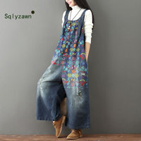 Wide Leg Bib Denim Overalls 2019 Women Vintage Printed Flower jean Jumpsuits Female Large size Drop Crotch Denim Rompers G101501