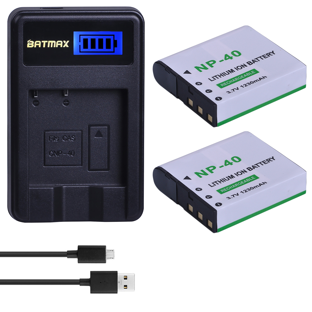 2Pcs 1230mAh NP-40 NP40 Camera Battery Pack + LCD USB Charger for Casio EX-Z30/Z40/Z50/Z55/Z57/Z750 EX-P505/P600/P700 PM200