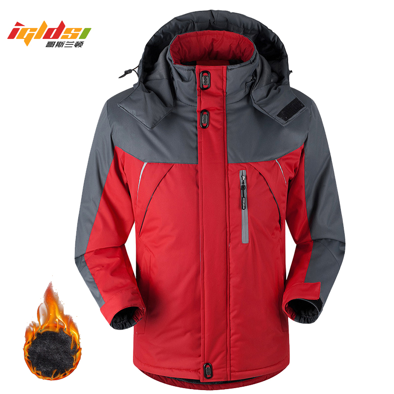 Winter Down Jacket Coat Thermal Down Parkas Velvet Jacket Outwear Waterproof Windbreaker,Black,XXL