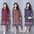 Pregnant Woman Dress Autumn Long Sleeve Floral Cotton Linen Maternity Clothes Retro Loose Casual Long Dresses CE319