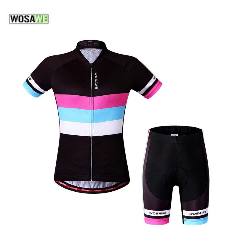 Wosawe Для женщин Велосипедная форма короткий рукав Майки спортивные Наборы для ухода за кожей дышащий MTB езда на велосипеде Костюмы 4D гель пло...