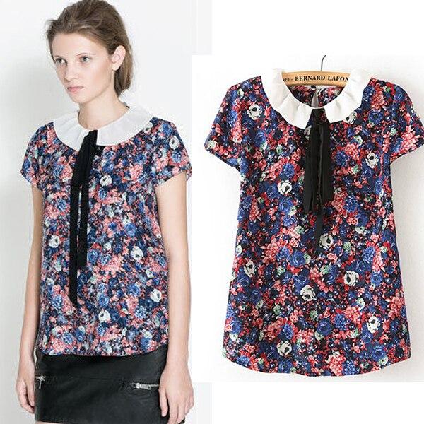 b1afd98b87b046 2014 New Arrival Women Chiffon Floral Print Shirts Women's Babydoll Blouse  Ladies Summer Blouses Beautiful Designer Tops SFAT237