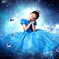 Blue Girl Платья Золушка Платье Костюм Принцесса Бальные Платья Девушки Рождество Одежда Свежий Бабочка Платье Для Подростков