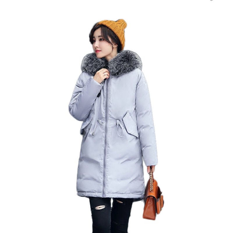 Women Parka Winter Jacket Plus size 2017 Down Cotton Padded Coat Loose Fur Collar Hooded Thick Warm Long Overcoat Female QW670 2017 women winter coat fur collar hooded long sleeve jackets slim thick winter jacket woman s down cotton parka plus size qh0242