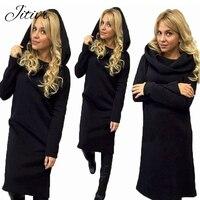 Hot Fashion Women Hooded Long Sleeved Lady Dress Autumn Winter Warm Wool Mid Calf Dress Solid