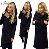 Hot Fashion Women Hooded Long Sleeved Lady Dress Autumn Winter Warm Wool Mid Calf Dress Solid