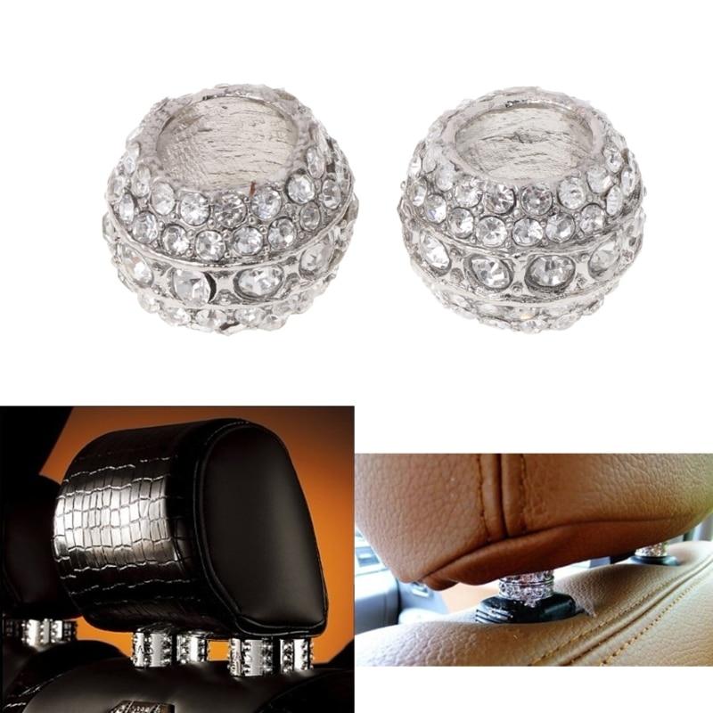 2x Car Chrome Ice Diamond Bling Headrest Chair Rest Collars Interior Decoration