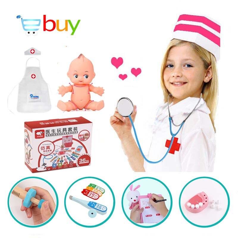 Jouets en bois docteur boîte médicale infirmière Cosplay jeu dentiste médecine coffre avec poupée uniforme semblant jouer cadeaux pour enfants enfants