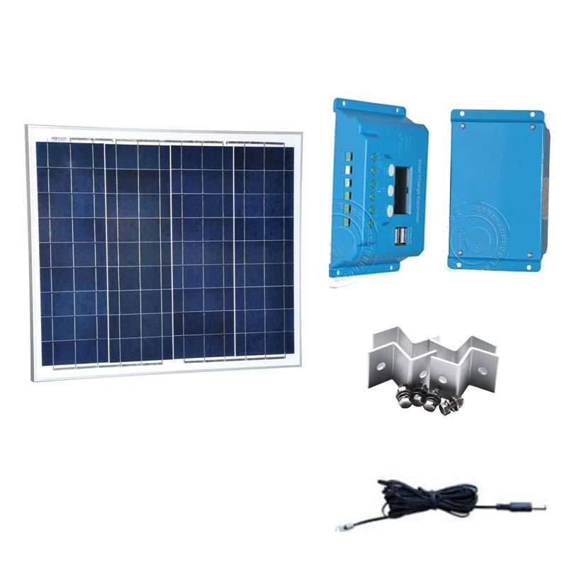 Panneau Solair 12 v 50 w Controlador do Carregador de Bateria Solar 12 v/24 v 10A PWM LCD Carro de Acampamento CaravanasY Autocaravanas Lumiere Levou