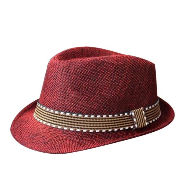 Red New Hot Fashion Boys Girls Kids Straw Fedora Trilby Panama Jazz Hat Cap  2016 4d1d5be1bdd1
