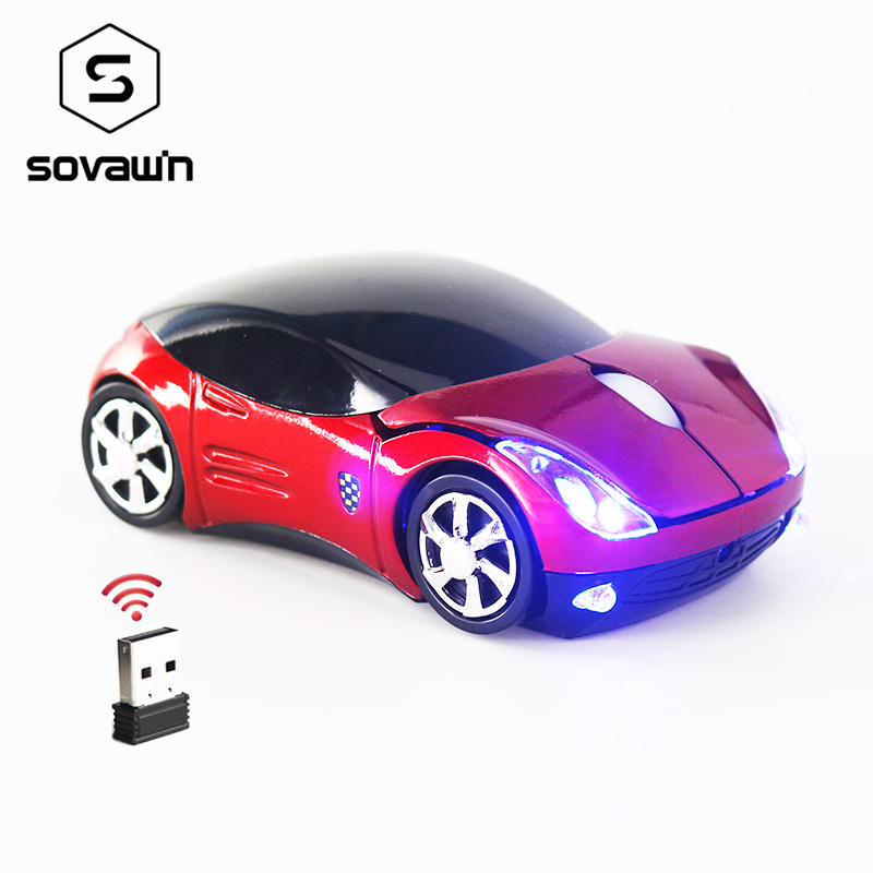 цена на Computer Mouse Wireless Car Shaped Mini USB Receiver Gaming Optical PC Wireless Computer Mouse for Laptop 1200 DPI 2.4G LED