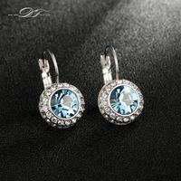 DFE076 Blue Imitation Gemstone18K Platinum Plated Hoop Earrings Fashion Brand Jewelry Crystal For Women Brincos Joias
