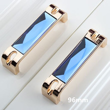 32mm 96mm 128mm 160mm moden fashion blue crystal win cabinet wardrobe door handles champagne gold dresser drawer pulls knobs 5″