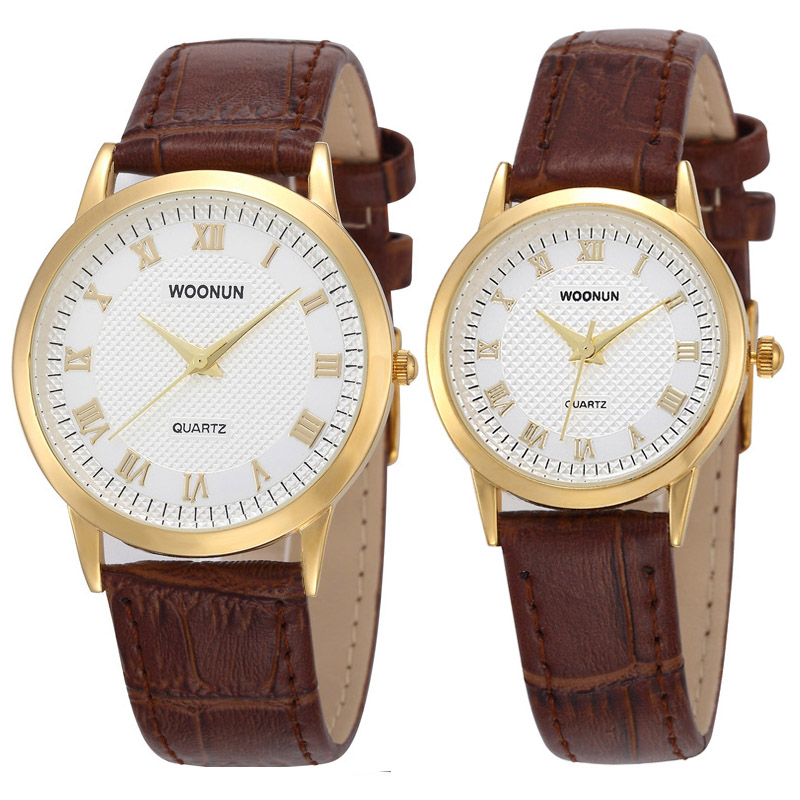 Valentine Gift Woonun Top Brand Luxury Couple Watches For Lovers Leather Strap Quartz-Watches Women's Men's Ultra-thin Watches