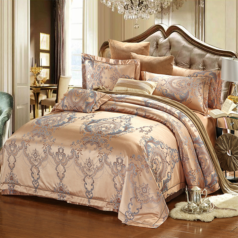 luxury king size bed european style luxury bedding sets jacquard cotton 15945